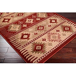 Meticulously Woven Red/Tan Southwestern Aztec Free-form Rug (7'9 x 11'2) - Thumbnail 1