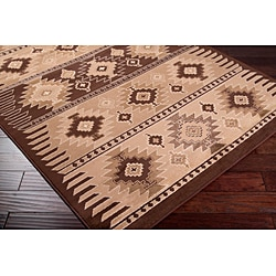 Meticulously Woven Brown/Tan Southwestern Aztec Free-form Rug (7'9 x 11'2) - Thumbnail 1