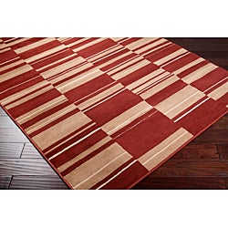 Meticulously Woven Contemporary Free-form Tan/Red Geometric Squares Rug (7'9 x 11'2) - Thumbnail 1