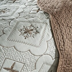 Lace Embroidered Cotton Chocolate 3-piece Quilt Set - Thumbnail 1