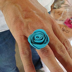 Silverplated Polymer Clay Rose Ring - Thumbnail 1