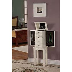 Winter White 4-Drawer Jewelry Armoire