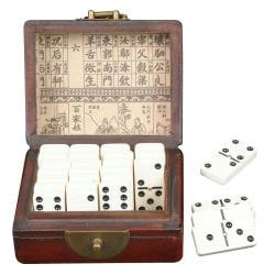 Red Leather and Jade Ingot Dominoes Set (China) - Thumbnail 1