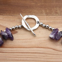 Silverplated Rite of Passage Turquoise and Amethyst Necklace - Thumbnail 1