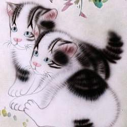 'Cats and Spring Flowers' Wall Art Scroll Painting (China) - Thumbnail 1