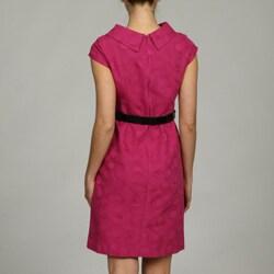 London Times Women's Belted Button-collar Dress - Thumbnail 1