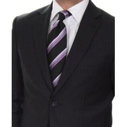 Ferrecci Men's Slim Fit Navy Pinstripe Suit - Thumbnail 1