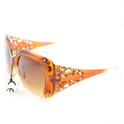 Women's P10048 Brown/Clear Oversized Sunglasses - Thumbnail 1