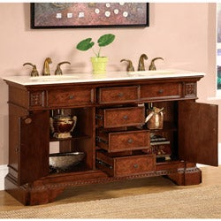 Silkroad Exclusive Fontana 60-inch Double Sink Bathroom Vanity - Thumbnail 1