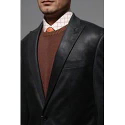 Men's Black Faux Leather Sportcoat - Thumbnail 1