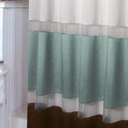 ... Marin Aquamarine And Brown Shower Curtain   Thumbnail 1