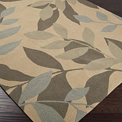 Hand-hooked Bliss Tan Floral Rug (9' x 12') - Thumbnail 1