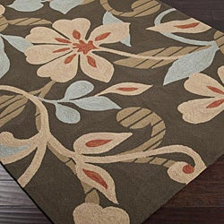 Hand-hooked Bliss Chocolate Indoor/Outdoor Floral Rug (9' x 12') - Thumbnail 1