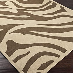 Hand-hooked Bliss Outdoor Beige Indoor/Outdoor Animal Print Rug (9' x 12') - Thumbnail 1