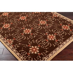 Hand-hooked Bliss Chocolate/ Brown Floral Rug (9' x 12') - Thumbnail 1