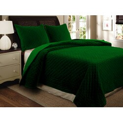 Greenland Home Fashions Bohemian Velvet 3-piece Full/ Queen-size Quilt Set - Thumbnail 1
