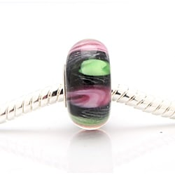 Murano-inspired Glass Pink and Green Dot Charm Beads (Set of 2)