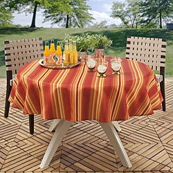 Cabana Stripe 70 in Round Indoor/ Outdoor Stain Resistant Tablecloth Fire Red - Thumbnail 1