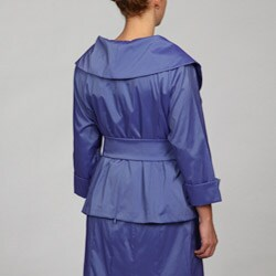 Marina Women's Plus Size Portrait Collar Belted Blouse