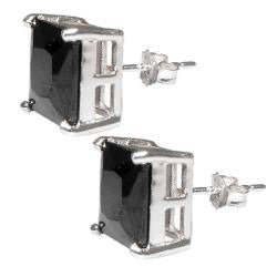 Sterling Silver Black Cubic Zirconia Stud Earrings - Thumbnail 1