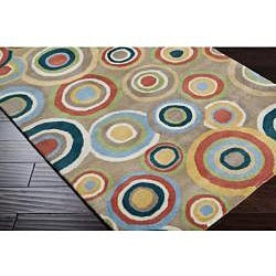 Hand-tufted Contemporary Multi Colored Circles Geometric Dazed New Zealand Wool Rug (3'3 x 5'3) - Thumbnail 1