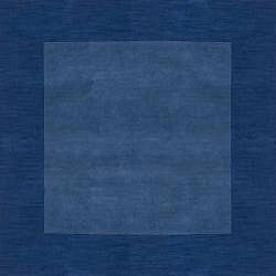Hand-crafted Blue Tone-On-Tone Bordered  Wool Rug (6' x 9') - Thumbnail 1