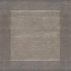Hand-crafted Grey Tone-On-Tone Bordered Wool Rug (9' x 13') - Thumbnail 1