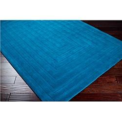 Hand-crafted Blue Geometric Ridges Wool Rug (5' x 8') - Thumbnail 1