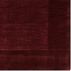 Hand-crafted Dark Purple Solid Bordered Wool Rug (8' X 11') - Thumbnail 1