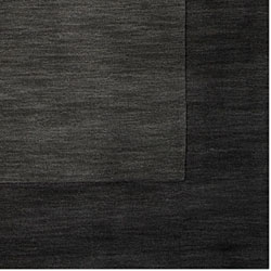 Hand-crafted Black Tone-On-Tone Bordered Wool Rug (6' x 9') - Thumbnail 1