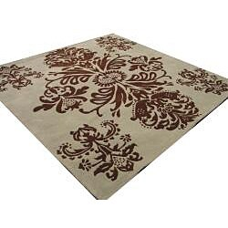 Hand-tufted Tomthy Green Wool Rug (6' Square) - Thumbnail 1