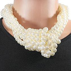 West Coast Jewelry Silvertone Faux Pearl Bead Necklace - Thumbnail 1