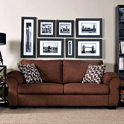 Portfolio Dale Dark Brown Microfiber Sofa with Geometric Pattern Accent Pillows