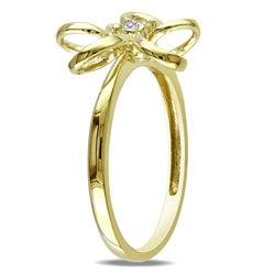 Miadora 10k Yellow Gold Diamond Accent Flower Ring - Thumbnail 1
