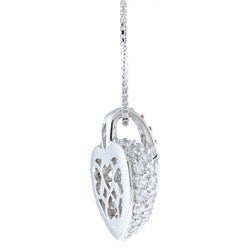 Kabella Sterling Silver Clear Cubic Zirconia Heart Necklace