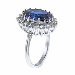 Sterling Essentials Sterling Silver Created Blue Sapphire and White Topaz Diana Ring - Thumbnail 1