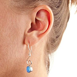Sterling Silver 'Bella' Blue Created Opal Jewelry Set (USA) - Thumbnail 1