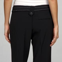 Larry Levine Women's Belted Dress Pants - Thumbnail 1