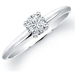 14k White Gold 3/8ct TDW Certified Diamond Solitaire Engagement Ring (H-I, I1-I2)