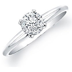 14k White Gold 5/8ct TDW Certified Round Diamond Solitaire Ring (H-I, I1-I2)