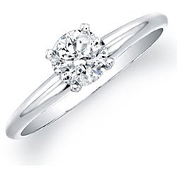 14k White Gold 3/4ct TDW Certified Diamond Solitaire Engagement Ring - Thumbnail 1