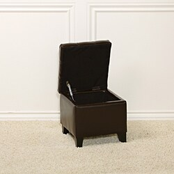 Tufted Patent Chocolate Brown Storage Ottoman - Thumbnail 1