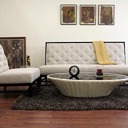 Bristol Tufted Grey Linen Modern Sofa Set - Thumbnail 1