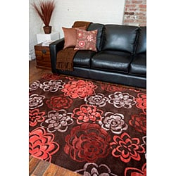 Contemporary Hand-Tufted Candice Olson Divine Red Wool Area Rug (5' x 8') - Thumbnail 1