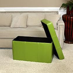 Nottingham Green Foldable Storage Ottoman