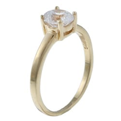 Sterling Essentials 14K Gold over Silver Cubic Zirconia Engagement-style Ring - Thumbnail 1