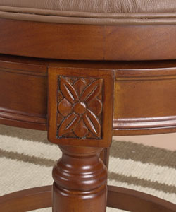 Louis XVI Swivel Counter Stool with Cane Back (Leather Seat)