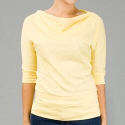 AtoZ Women's Cowl Neck 3/4-sleeve Cotton Top - Thumbnail 1