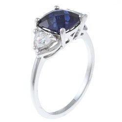 Sterling Silver Created Blue and White Sapphire Ring - Thumbnail 1