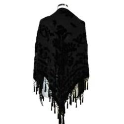 Black Embroidered Fringed Shawl - Thumbnail 1
